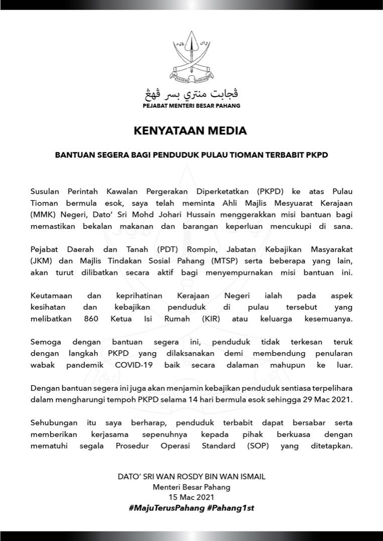 PKPD di Pulau Tioman mulai esok, kerajaan negeri lancar misi bantuan