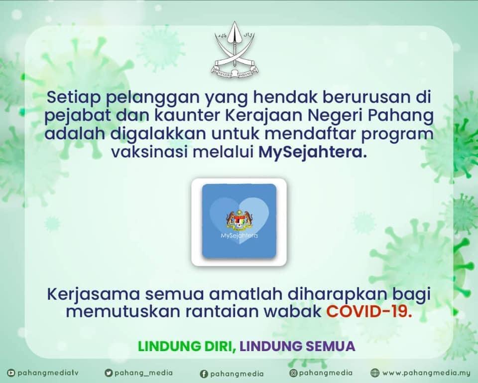 Daftar vaksin di MySejahtera, SICP baru boleh berurusan di pejabat Kerajaan Pahang