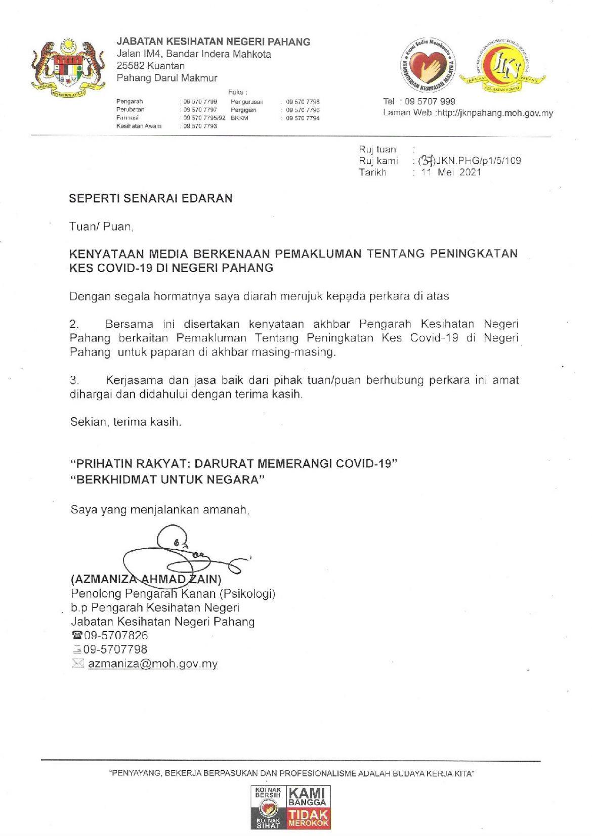 Pahang dijangka catat 100 kes COVID-19 sehari mulai Jun depan