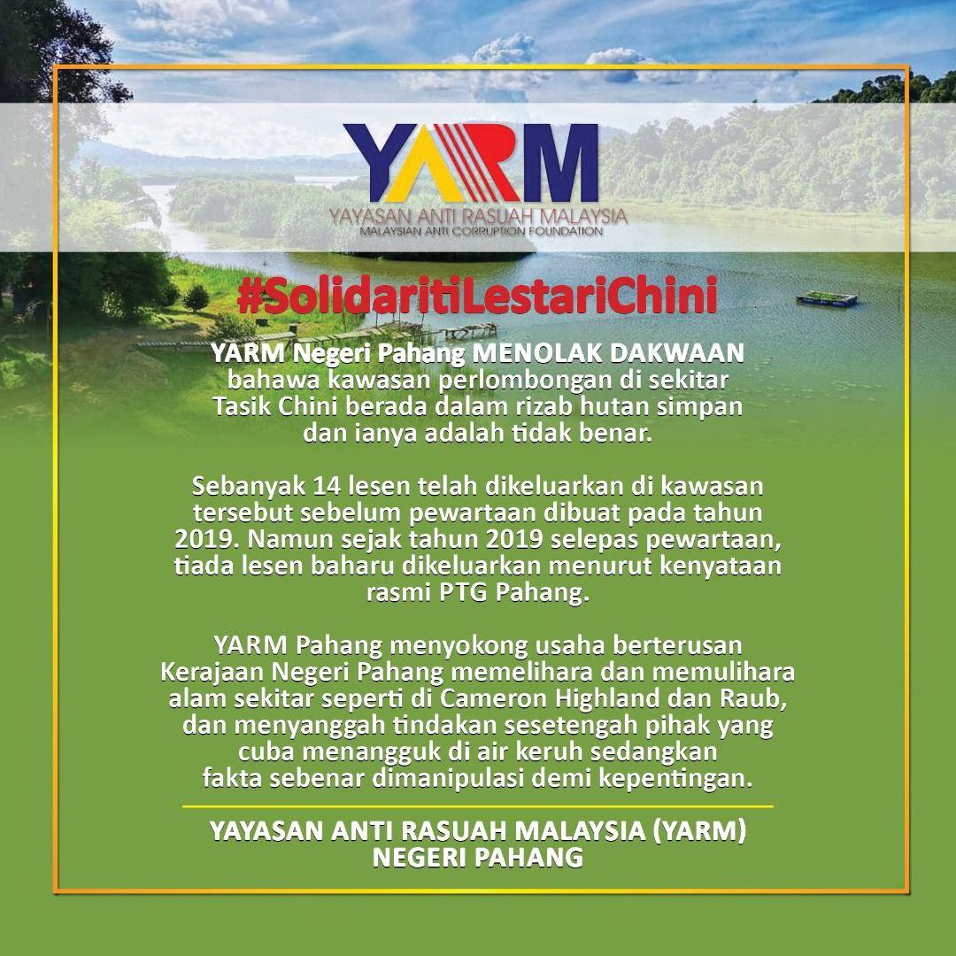 Kawasan lombong dekat Tasik Chini bukan dalam rizab hutan simpan – YARM Pahang