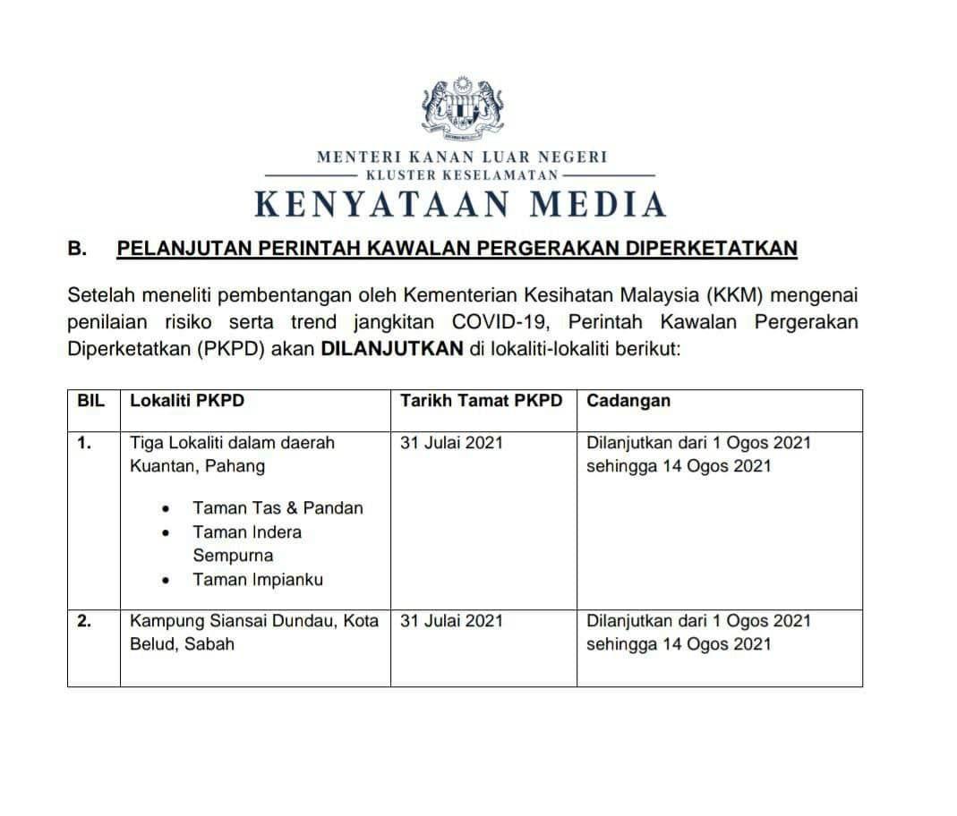 PKPD di 3 lokaliti di Kuantan dilanjutkan