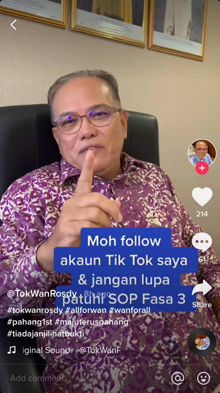 MB Pahang dah ada TikTok, mohlah 'follow'